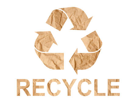 tatty: Recycle symbol made of crumpled paper on white background