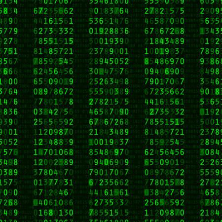 zuilen: Het herhalen van kolommen van groene computer nummers op zwarte achtergrond Stock Illustratie