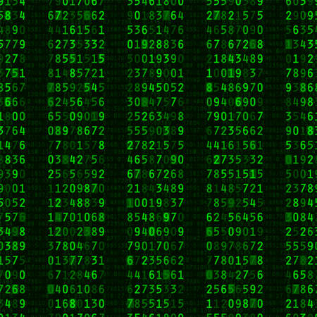 Repeating columns of green computer numbers on black background Illustration