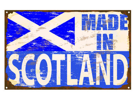 rusting: Made in Scotland rusty old enamel sign vector  Illustration