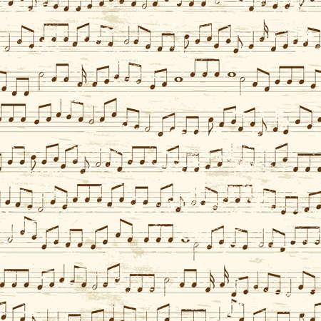 Vervaagde oude willekeurige muzieknoten achtergrond. Herhaling van betegelbare vector illustratie