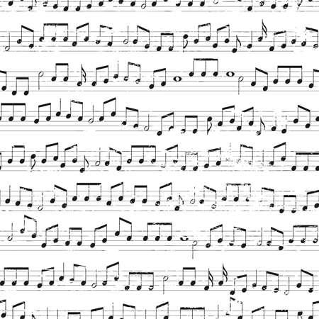 色あせた古いランダムな音符の背景。繰り返し tileable ベクトル イラスト