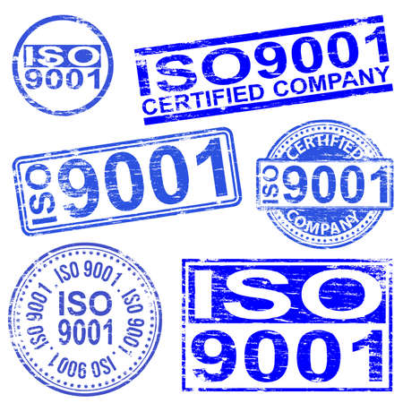 iso: ISO 9001 rubber stamp symbol vector illustrations
