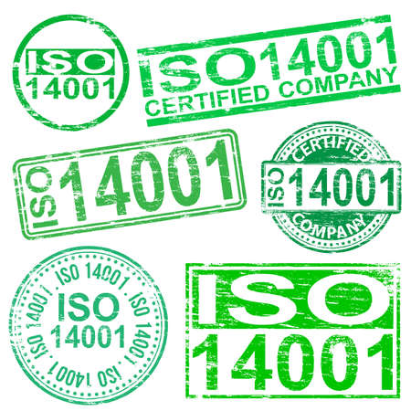 iso: ISO 14001 rubber stamp symbol vector illustrations Illustration