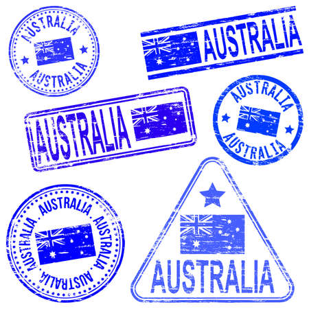 australia stamp: Australia different shaped rubber stamp