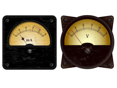 contador electrico: Vintage amperímetro voltímetro eléctrica y ilustraciones de vectores Vectores