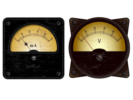ammeter: Vintage electric ammeter and voltmeter vector illustrations