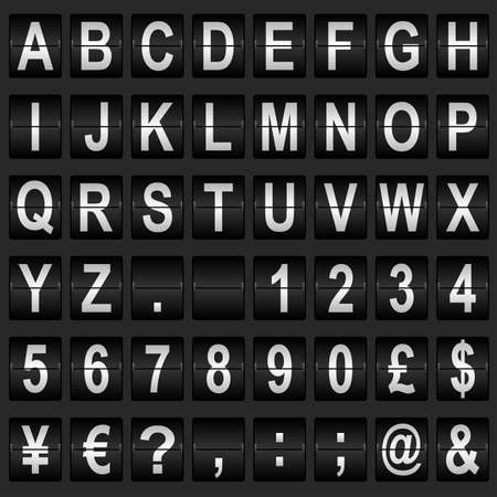 flight board: Mechanical departure board letters and numbers. Flip over display font