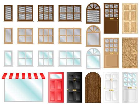 Diferentes puertas de estilo e ilustraciones vector ventanas
