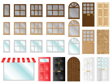 Different style doors and windows vector illustrations Illustration