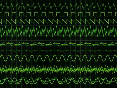 wavelength: Diferentes ondas osciloscopio. Ilustraci�n vectorial sobre fondo gr�fico Vectores