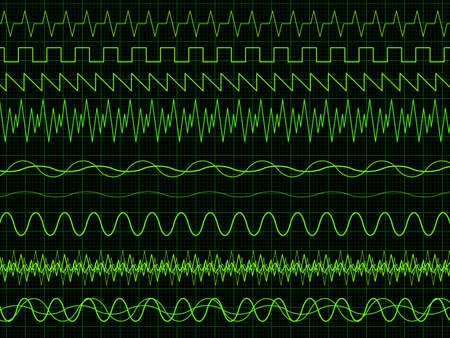 wavelength: Different oscilloscope waves. Vector illustration on graph background  Illustration
