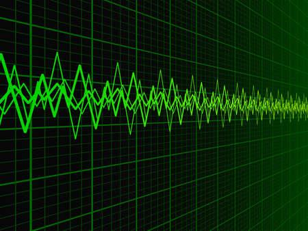 oscilloscope: Green soundwave over fading oscilloscope graph background vector illustration