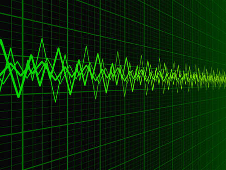 Green soundwave over fading oscilloscope graph background vector illustration
