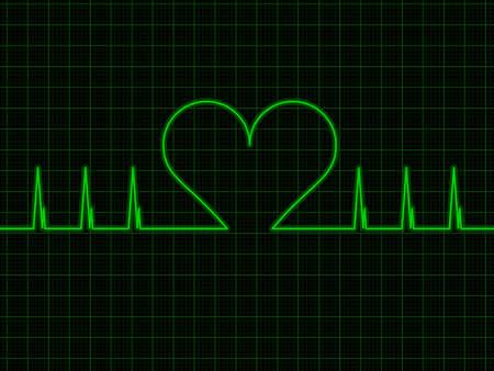 oscilloscope: Heart beat on oscilloscope background vector illustration