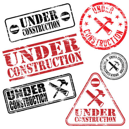 under construction: Rectangular and round under construction rubber stamp vectors