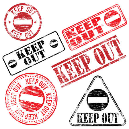 fade out: Rectangular and round keep out rubber stamp vectors   Illustration