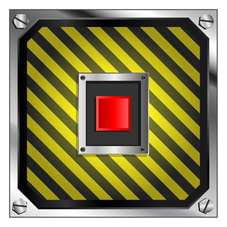 destruct: Red self destruct button on black and yellow striped background