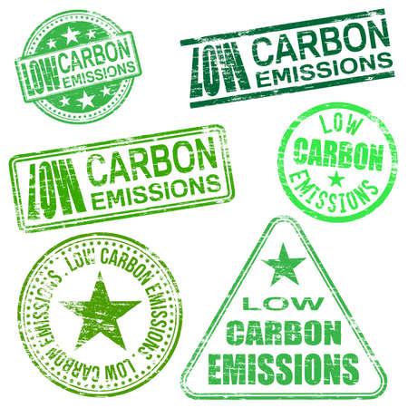 carbon emission: Low carbon emissions rubber stamp vector illustrations