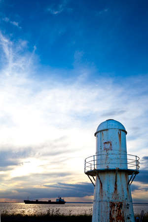 yorkshire and humber: Rusty old metal lighthouse on The Humber