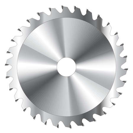 logging: Wood cutting circular saw blade vector illustration