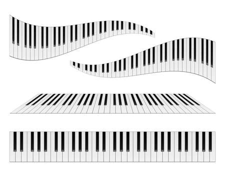 Piano keyboards vector illustrations. Various angles and views Çizim
