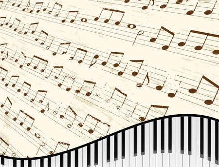 Piano keyboard against faded music sheet background  Vector