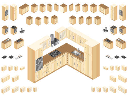 Wooden kitchen design elements. Large selection of isometric kitchen units for room layout and design.