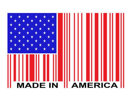 Made in America gwiazdy i pasy flagi kodem kreskowym Ilustracje wektorowe