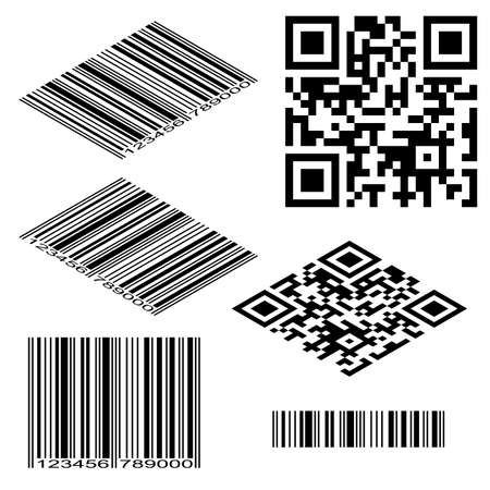 Different types of bar and QR codes Vector