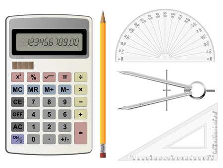 compas de dibujo: Calculadora, comp�s y transportador de geometr�a ilustraciones