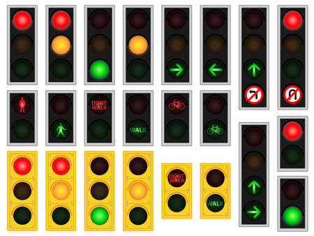 Vehicle, pedestrian and cycle traffic light vectors  Vector