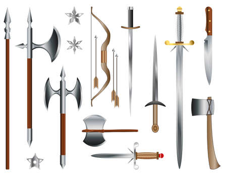 spear: Swords, axes and bow. Medieval weapons