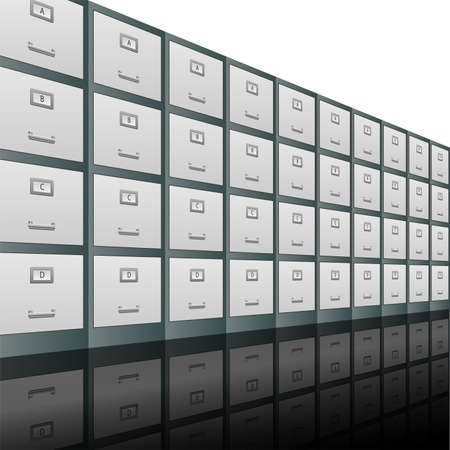 filing: Filing cabinets in a row background illustration