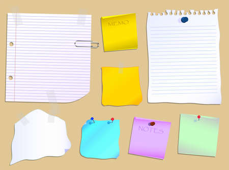 notelet: Notes and paper scraps pinned to a notice board