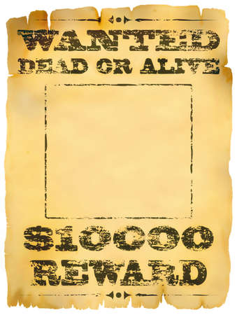 Faded old wanted dead or alive poster