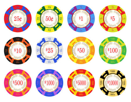 stake: American casino chip vectors. 25 cents to ten thousand dollars