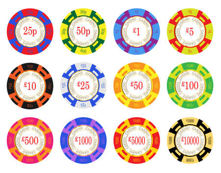 United Kingdom casino chip vectors. 25 pence to ten thousand pounds Illustration