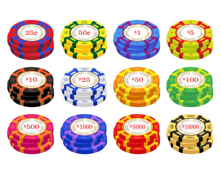 pence: American casino chip vectors. 25 pence to ten thousand pounds