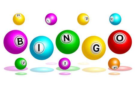 bingo: Bolas de Bingo Bingo explicando ilustración vectorial palabra
