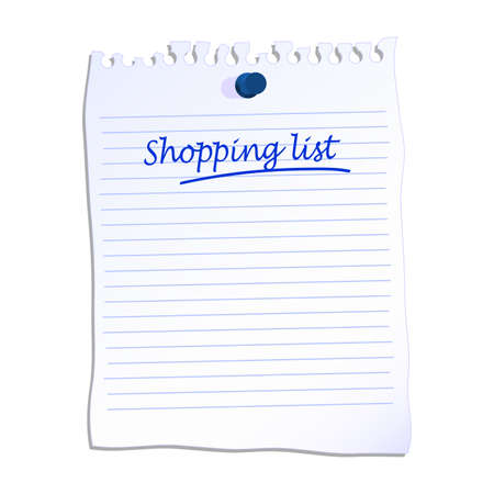 Shopping list written on lined paper vector illustration