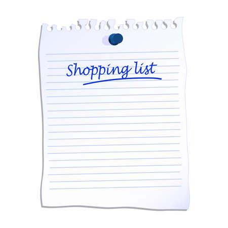 Shopping list written on lined paper vector illustration