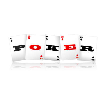 stake: Playing cards spelling Poker logo vector illustration