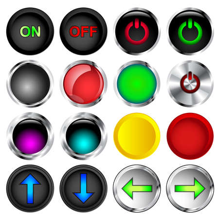 push button: Round on and off push button vectors