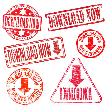 torrent: Download now stamps. Different shape vector rubber stamps illustrations Illustration