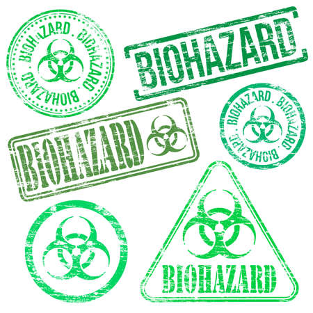 chemical hazard: Biohazard stamps. Different shape vector rubber stamp illustrations Illustration