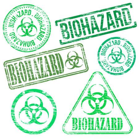 Biohazard stamps. Different shape vector rubber stamp illustrations Vector