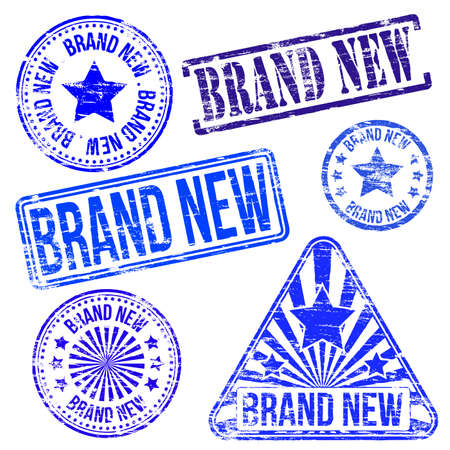 brand new: Brand new stamps. Different shape vector stamps illustrations