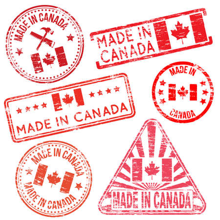 tatty: Made in Canada. Rubber stamp vector illustrations