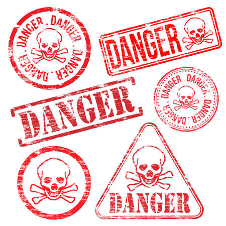 hazard sign: Danger stamps. Different shape vector rubber stamp illustrations Illustration